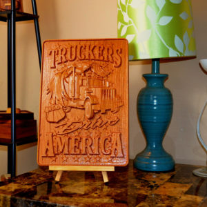 Truck Driver 'Truckers Drive America' 3D CNC Carved Wooden Sign Plaque!