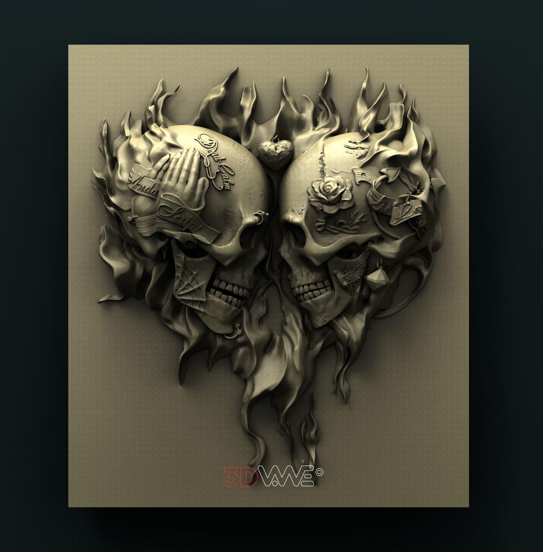 0894 Skulls Heart