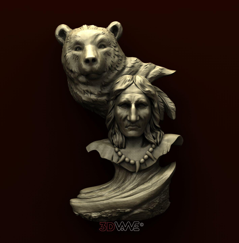 B0002 Native American and Bear
