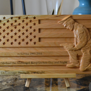 Personalized Police Officer Kneeling Carved Wooden American Flag
